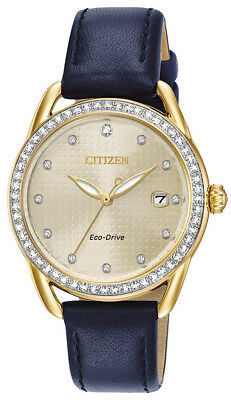 Citizen Eco-Drive LTR Women's Crystal Accents Gold-Tone 37mm Watch FE6112-09P