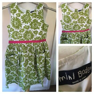 MINI BODEN GIRLS GREEN FLORAL DRESS SIZE 9-10 YEARS- Spring / Summer Stunning C8