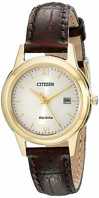 Citizen Eco-Drive Women's Gold-Tone Case Leather Band 29mm Watch FE1082-05A