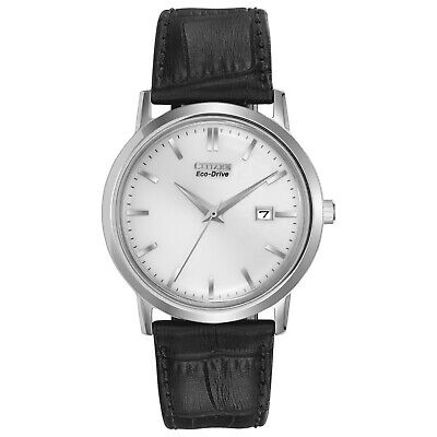 Citizen Eco-Drive Men's Silver Dial Black Leather Band 40mm Watch BM7190-05A