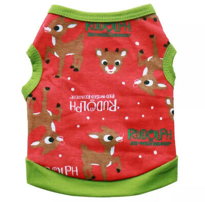 Dog Puppy Rudolph The Red Nose Reindeer Christmas T-Shirt Top Vest, Free Post!
