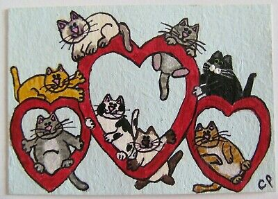 ACEO Original Acrylic Painting 8 Cats on Valentine Hearts CPH Art kutiekatz USA
