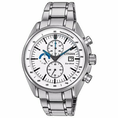 Citizen Eco-Drive Men's HTM Chronograph White Dial 44mm Sport Watch CA0590-82A