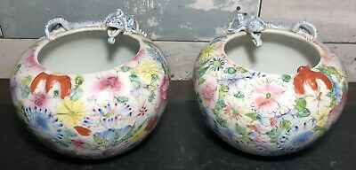PAIR of ANTIQUE CHINESE FAMILLE ROSE PORCELAIN WATER POTS w/ CHIMERA & BATS