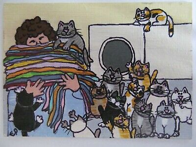 ACEO Original Acrylic Painting Crazy Cat Ladys Wash Day CPH Art kutiekatz USA