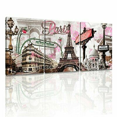 Pink Paris Eiffel Tower Frame Wall Art Printing Canvas Home Decor Picture Gift