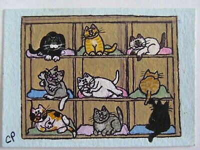 ACEO Original Acrylic Painting Crazy Cat Lady Organizer CPH Art kutiekatz USA
