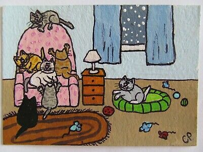 ACEO Original Acrylic Painting Cats Momma Gets a New Chair CPH Art kutiekatz USA