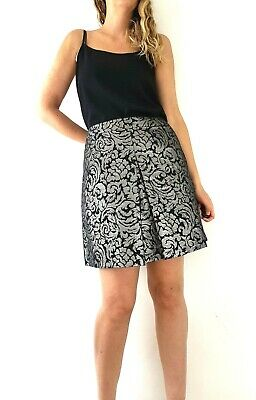 03d97dac M&S Metallic A Line Skirt Size 16 Silver Black Mini Party Pleated Evening  Flared