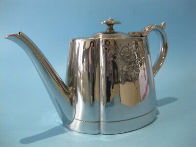 Nice Little Antique Silver Plated Victorian Chased / Hand-Engraved Oval Tea Pot