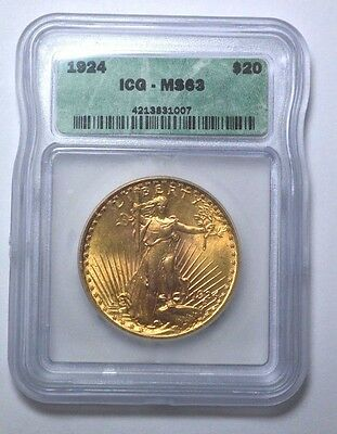 1924-P Icg Ms63  $20 Gold St. Gaudens Double Eagle  Us Coin