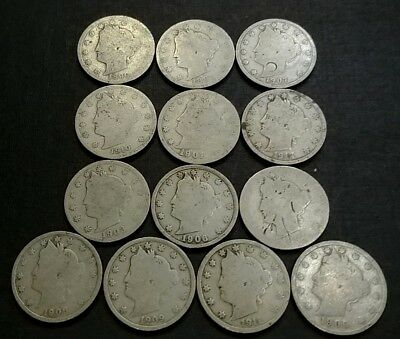 Lot of 13 Different Liberty V Nickels 1890-1912 180833