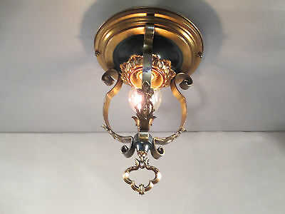 "Vintage Antique Art Deco Flush Mount Theater Ceiling Light Fleur De Lis 13"" Long"