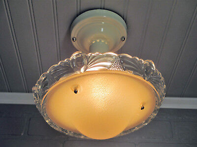 Vintage Antique Retro Art Deco Semi Flush Mount Ceiling Light Fixture Beige 10""