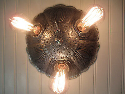 Vintage Antique Flush Mount Ceiling Light Fixture Gothic Arts & Crafts Rewired