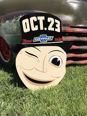 Antique Vintage Old Style Chevy Mask GM Motors Sign