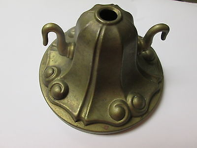 Vintage Antique Brass Sheffield with Hooks Ceiling Chandelier Canopy 4 3/4""