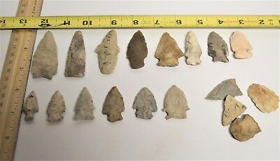 14 Authentic Arrow Head Points Clinton Co. Indiana Farm Finds Farmer's Estate