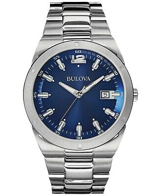 Bulova Quartz Blue Dial Stainless Steel Bracelet Men's Watch 96B220
