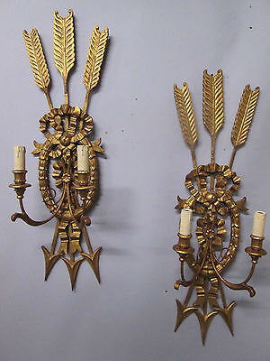 "Vintage Antique Huge Pair Italian Gold Gilt Wall Sconces Handcarved Wood 38"" T"