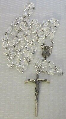 "antique faceted cut CRYSTAL GLASS ROSARY BEADS XL 26"" long 2.25"" silver crucifix"
