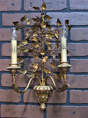 "Vintage Antique Italian Gold Gilt Wall Sconce Wooden Urn Rewired 18"" Tall"