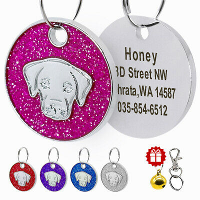 Personalized Dog Tag Engraved Pet Name ID Collar Tag Bling Glitter for Labrador