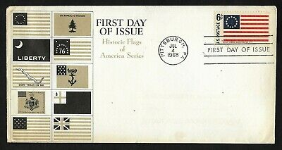 #1350 6c Historic Flags -1st Stars and Stripes- American Heritage FDC