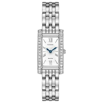 Citizen Eco-Drive Women's Crystal Accents Silver-Tone 17mm Watch EX1470-51A