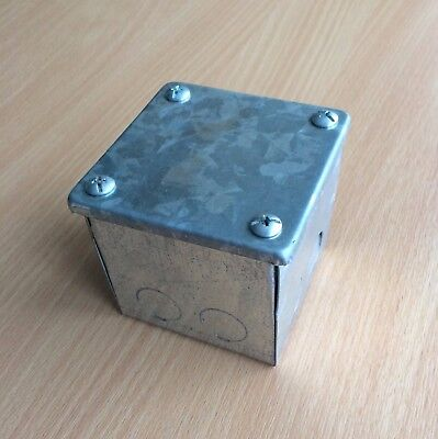 "5x Adaptable Steel Box/Electrical Enclosure Galvanised 3x3x3""/80x80x80mm"