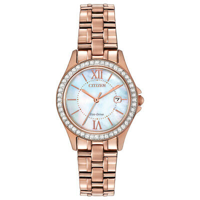 Citizen Eco-Drive Women's Mother of Pearl Dial Rose Gold 28mm Watch EW1843-52D