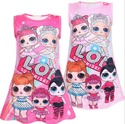 New Girls Lol Surprise Doll Game Dress Kids Nightwear Nightdress Pyjamas Skirts
