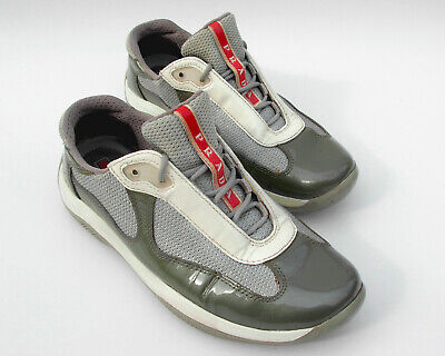 19f0e7c384f PRADA Americas Cup Womens Size 6 Euro Size 36.5 Grey Patent Leather And Mesh