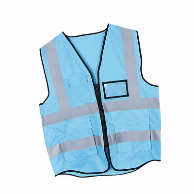 CN_ High Visibility Multi-Pocket Reflective Tank Top Safety Clothing Security