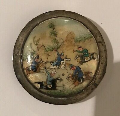 Antique Persian hand painted Mother of Pearl Snuff Powder Box Warriors on Horses