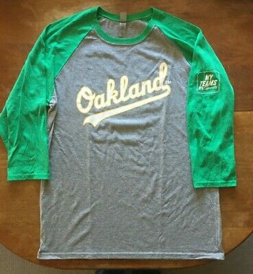 info for 26ac1 49151 OAKLAND ATHLETICS AUTHENTIC Fan A's Baseball Style L T-Shirt Gray/Kelly  Green