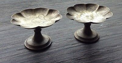 19th century Chinese silver plated bronze trays in eight petal floral design