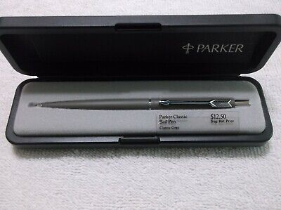 Parker Classic Matte Gray & Chrome Trim Ballpoint Pen / Made In Usa
