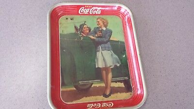 "Vintage 1942 Coca Cola Tray ""Two Girls with a Car"" Coke Bottle Farm House Deco"