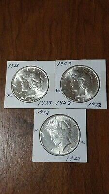 3 1923 P BU GEM PEACE SILVER DOLLAR UNC MS+ GENUINE U.S. MINT bobs horde