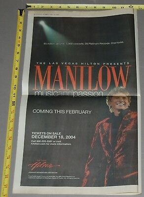 BARRY MANILOW Las Vegas Music And Passion 2004 Poster Concert Ad 12x22
