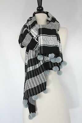 LOFT Plaid Scarf Wrap Pom Poms Shawl Womens Fashion Gift On Trend NEW