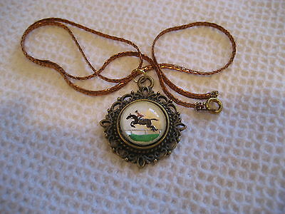 HORSE & Rider Beautiful Steeplechase Jumper or Hunter vintage intaglio NECKLACE