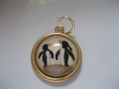 PENGUINS  pendant.  Very cute Reverse carved & painted vintage intaglio cabochon