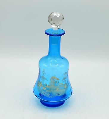 Vintage Light Blue Glass Painted Decanter With Crystal Stopper