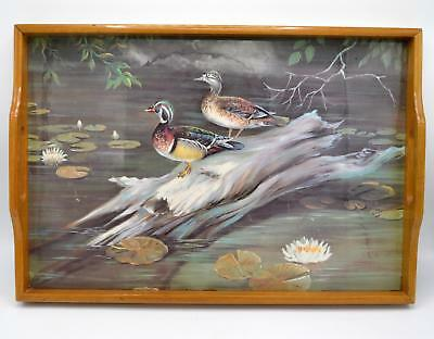 Vintage Wood Serving Tray - Painted Ducks in Pond