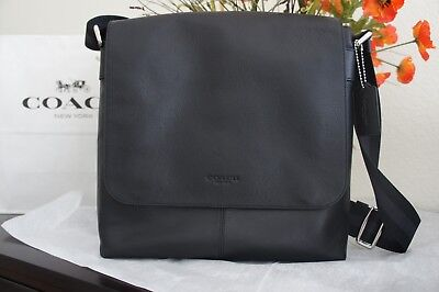 Coach Charles Black Messenger Small Leather Crossbody Bag F28576 NIBLK BRAND NEW