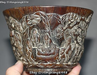 Collection Chinese Ox Horn Carving People Old Man Pine Tree Bowl Bowls Statue