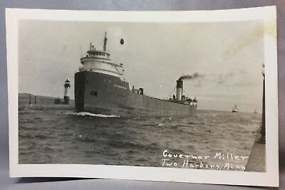 GOVERNOR MILLER  Freighter ORE Ship RPPC Real PHOTO Postcard TWO HARBORS Minn