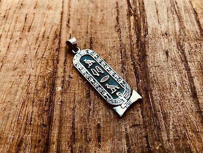 Egyptian Customized Ebony Sterling Silver Cartouche Winged Isis Charm Necklace